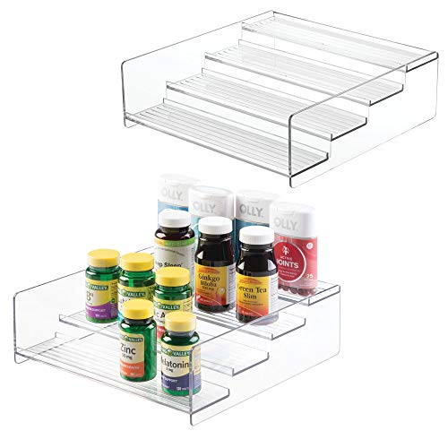 mDesign Plastic Bathroom Storage Organizer Shelf for Cabinet, Vanity, Countertop - Holds Vitamins, Supplements, Medicine Bottles, Essential Oils, Nail Polish, Cosmetics - 4 Levels, 2 Pack - Clear