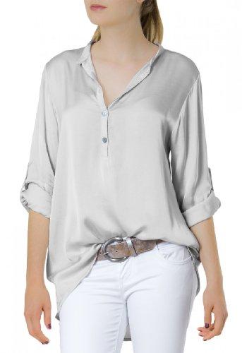 CASPAR Damen Kurzarm / Langarm Satin Bluse / Hemdbluse mit Seidenglanz - viele Farben - BLU003, Farbe:hellgrau