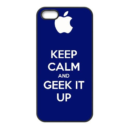 Keep Calm Geek On 001 coque iPhone 5 5S cellulaire cas coque de téléphone cas téléphone cellulaire noir couvercle EOKXLLNCD25235