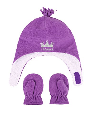 SimpliKids Girls Sherpa Lined Crown Embroidered Hat & Gloves Set, M 2-4 Years