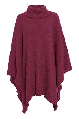 Be Jealous - Poncho Cape Femmes Tricot Encolure Pull - M/L - 40/42, Bordeaux