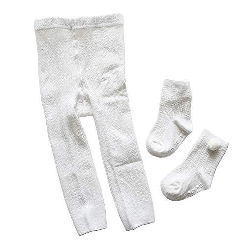 Toddler Girls Cotton Stockings Pantyhose Infant Baby Seamless Leggings Footed Pant Rib Knit Tights+Socks Set White