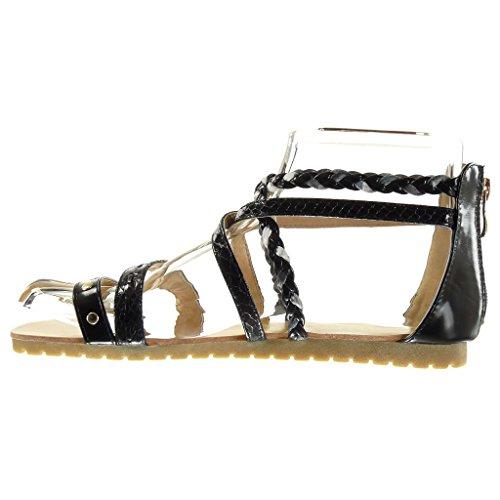 Angkorly - damen Schuhe Sandalen - Römersandalen - Sexy - Multi-Zaum - Schlangenhaut - Geflochten flache Ferse 1.5 CM - Schwarz