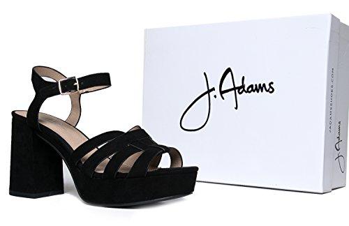 d1c44de89ac J. Adams Womens Platform Ankle Strap Low Heel - Chunky Open Toe Shoe Casual  Basic