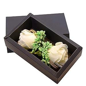 ETERNAL ANGEL Boutonniere Buttonholes for Men Handmade Rose Wedding Flowers Lapel Pins Groom Groomsman Best Man Silk Brooch Bouquet for Suit Ivory 2PCS 25