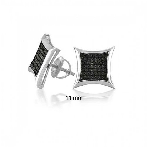 - Black Square Kite Shaped CZ Micro Pave Cubic Zirconia Stud Earrings For 925 Silver Screwback 11MM
