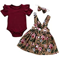 LOliSWan 2Pcs Infant Toddler Baby Girls Summer Boho Floral Rompers Jumpsuit Strap Skirt Overall Dress Outfits Set