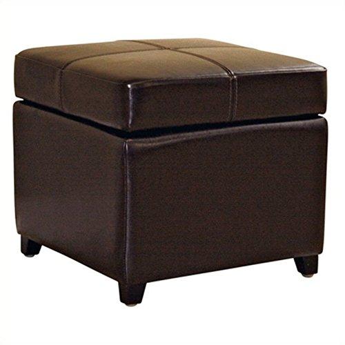(Baxton Studios Biondello Square Leather Storage Ottoman Dark Brown)