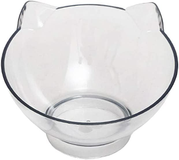 Luck Dawn Cat Elevated Bowl with Raised Stand, 15 Degree Tilted Design Neck Guard Stand Raised Pet Food Water Feeder Bowl for Cats or Small Dogs