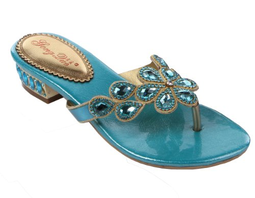 Abby Womens Comfort Flip Flops Fashion Leather Low Heel Sandals Blue US Size8