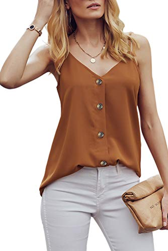 RSM &CHENG Women's Button Down V Neck Strappy Tank Tops Loose Casual Sleeveless Shirts Blouses(Brown,XL)