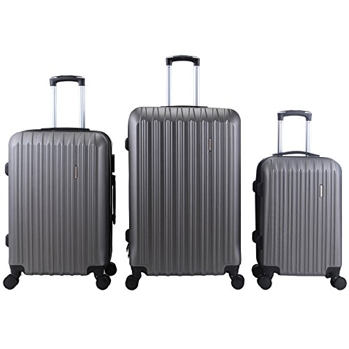 ORKAN 3Pcs Travel Set Bag ABS Luggage Hard side Trolley Spinner Suitcase Expandable TSA lock(Grey) Abs Trolley