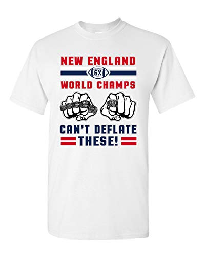 World Champs Can't Deflate These Football Sports DT Adult T-Shirt Tee (X Large, White)