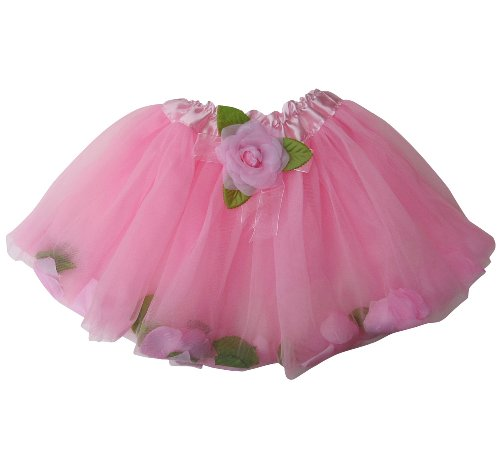 Pink Flower Toddler Costumes (Flower Petal Girls Dance Dress-Up Princess Fairy Costume Dance Tutu (Pink))
