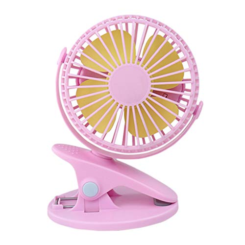 Clip On Stroller Fan, 360° Portable Camping Fan Rechargeable USB Clip On Mini Desk Fan Pram Cot Car Easily Attaches for Child Baby Comfort (Pink)