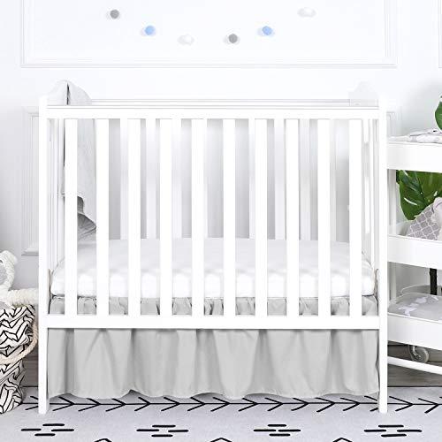 TILLYOU Gray Mini Crib Skirt Ruffled, Microfiber Portable Crib Bed Skirt for Baby Boys and Girls, 24'' X 38'', 10.5'' Drop, Pale Grey (Portable Crib Bedding Skirt)