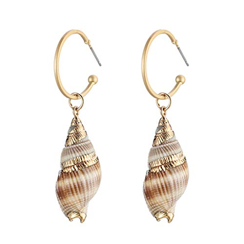 Earrings Gold Conch Shell - Peigen Natural Simple Conch Shell Earring Gold Color Ear Hook Women Pendant Dangle Earrings for Lady All-Match