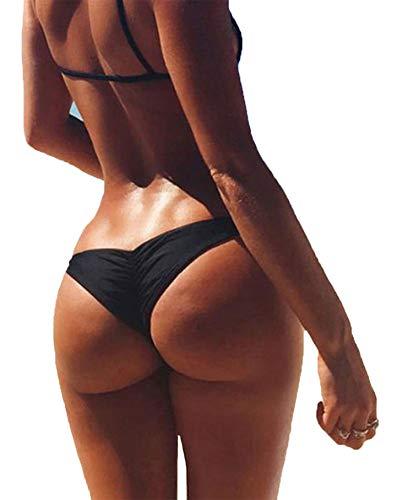 - 3-5 Days Delivery Sexy Lady Brazilian V-Style Ruched Ruffle Cheeky Bikini Bottom Thong Black