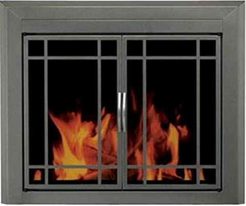 Pleasant Hearth ED-5410 Edinburg Glass Firescreen, Gunmetal, Small - Fireplace Frame