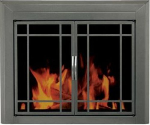 - Pleasant Hearth Edinburgh Glass Firescreen Gunmetal - Small
