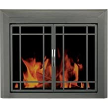 Pleasant Hearth ED-5411 Edinburg Glass Fire Screen, Gunmetal, Medium