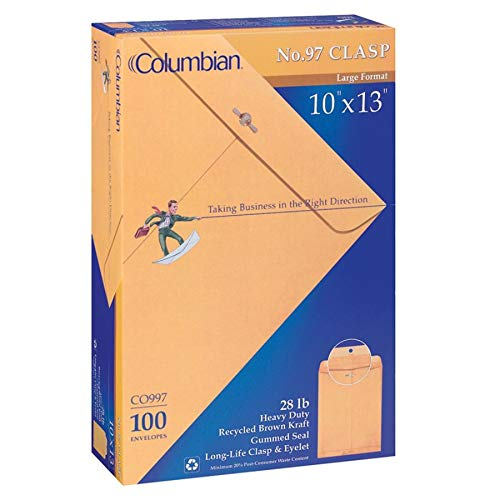 Columbian Brown Kraft Clasp & Gummed 10 x 13 Inch Columbian Clasp Envelopes 100 Count -