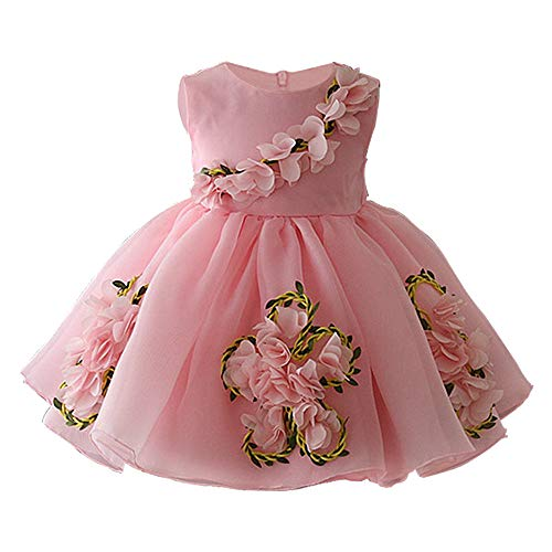 CAIYCAI 2019 Cute Baby Girl Dresses for Wedding Party 0-5 Years Kids Girls Birthday Dress 3D Flower Princess Prom Dress,Pink,5T -