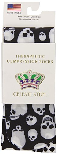 Celeste Stein Therapeutic Compression Socks, Skulls, 8-15 mmhg, 1-Pair -