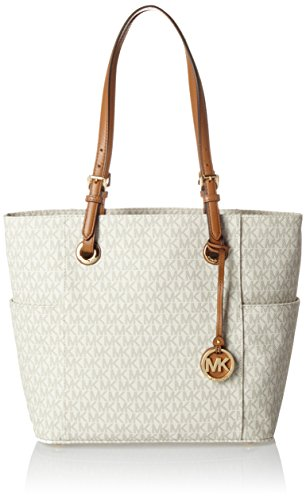 Michael Kors Women's Jet Set Item Ew Signature Tote, Vanilla