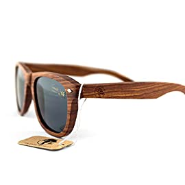 Real Solid Handmade Wooden Sunglasses for Men, Polarized Lenses with Gift Box 8 Tired of those old plastic sunglasses that feel cheap, clunky and heavy? Our designers at Viable Harvest have created the perfect lightweight wooden sunglasses just for you! Our sunglasses are hand crafted with organic natural wood for a unique design that looks and feels great. With sleek lines and a leisurely style, the Viable Harvest sunglasses are ideal for the backyard or your next great adventure. We love the wooden sunglasses not only for their strength but for their amazing look - an exciting and unique grain and color pattern that boasts nothing but style. They've been lightly polished to enhance their natural wooden tones and provide a stunningly smooth finish. We use premium, high quality, certified polarized lenses with a UV400 rating. We're not only concerned with how you look, but how we can help protect you for life.