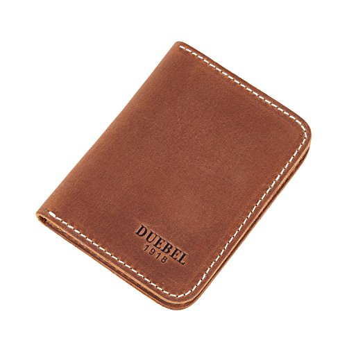 DUEBEL Full-grain Genuine Leather Slim Front Pocket Wallets, Minimalist Thin Card Holder, Card Case Wallet (DBL01-Brown with Magnet)