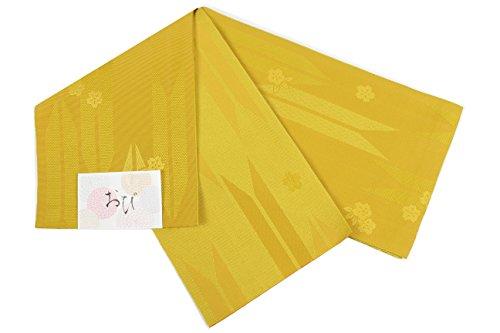 レーニン主義特異な教育者浴衣帯 RU-1-7 半幅帯 織り柄入り 日本製 リバーシブル (RU-5 矢絣 からし)