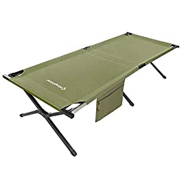KingCamp Oversized Camping Cot 30″ Wide XXL for Adults Heavy Duty Folding Sleeping with Storage Bed, for Camping Outdoors Office Use, Easy Set Up