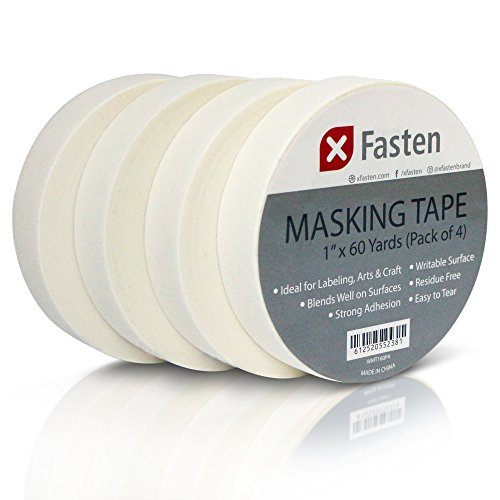 XFasten Artisan Masking Tape White, 1 Inches x 60 Yards, Pack of 4 For Drafting and Arts and Crafts
