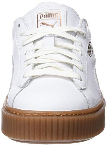 Puma Damen Basket Platform Euphoria Gum Sneaker Weiß (puma Bianco-oro Rosa)