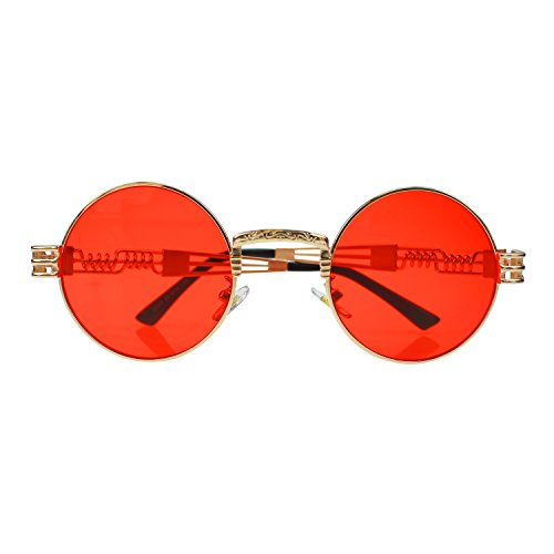 Men Metal Fashion Women Mirror Red For Anti Sunglasses Round Party Sports Frame Lens UV400 Frame Climbing Travelling Protection Decorations Sunglasses Polarized gold Fishing UVB Eyewear HD Lens UVA Driving Indoor Outdoor qEa80