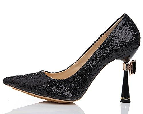 Stiletto Evening Pumps Party Glitter Sequins Women's Black TDA Heel Wedding Bowtie Mordern Dress Uqwqvn0p