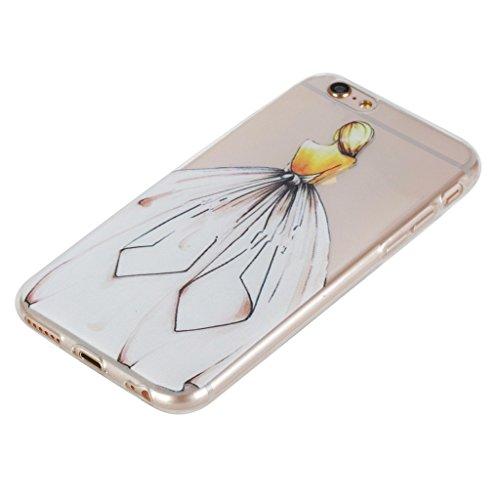 "Coque iPhone 6 / 6S, IJIA Ultra-mince Transparent Romantique Robe Princesse TPU Doux Silicone Bumper Case Cover Shell Housse Etui pour Apple iPhone 6 / 6S 4.7"" + 24K Or Autocollant"
