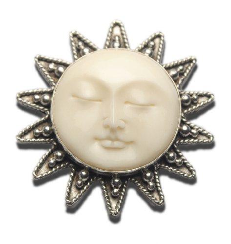 Sun Moon Face Pin Pendant Sterling Silver 925