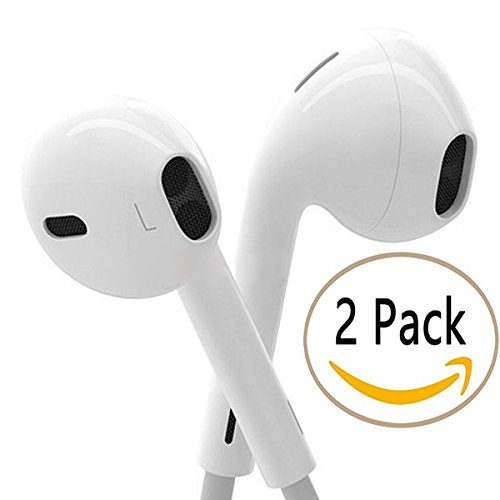 2 Pack Wired Earbuds, Moow In Ear Headphones with Microphone Stereo Earphones for iPhone 6s 6 5s Se 5 5c 4s Plus Android Galaxy Edge S8 S7 S6 S5 S4 Note 1 2 3 4 7 White