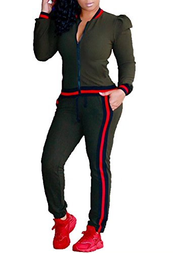 Army Track Jacket (FOUNDO Women's 2 Pieces Outfits Jacket and Pants Sweatsuits Tracksuits Army Green 3XL)