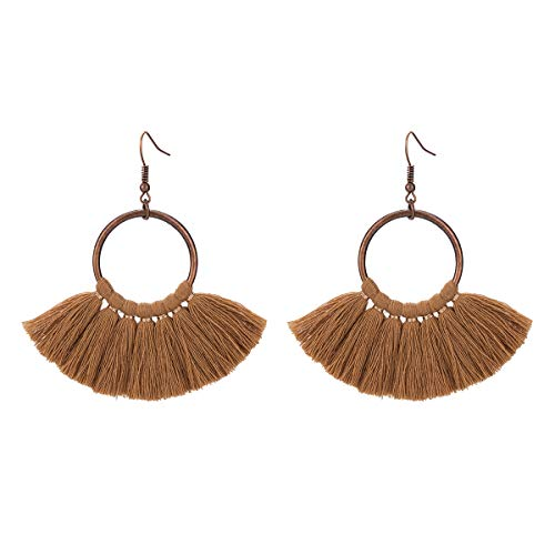 (Jiami Fan Tassel Fringe Drop Earrings Dangle Chandelier for Women, Girls (Cafe))