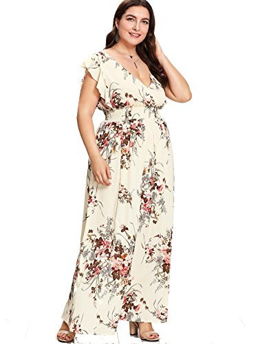 Wrap Floral Chiffon (Milumia Plus Size Sun Dress Empire Waist Wrap V Neck Floral Print Boho Chiffon Sleeveless Party Maxi Dress Beige 0XL)