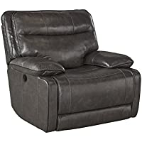Ashley Palladum Leather Rocker Recliner in Metal