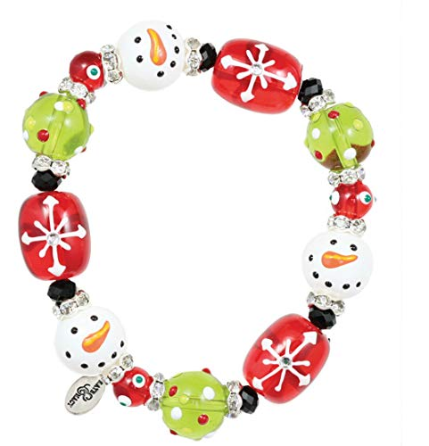 Kate & Macy Clementine Design Sparkling Snowman Bracelet Painted Glass Beads Rhinestones