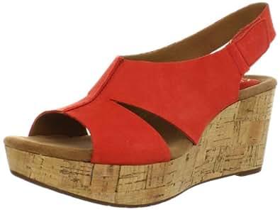 Clarks Women's Caslynn Lizzie Wedge Sandal,Red Nubuck,9.5 M US