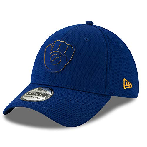 (Milwaukee Brewers 2019 Clubhouse Collection 39THIRTY Flex Fit Hat, L/XL)