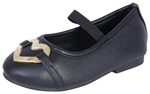 Gold Flat Heart (bebe Girls Metallic Heart Logo Mary Jane Ballet Flats, Black/Gold, Size 9/10)