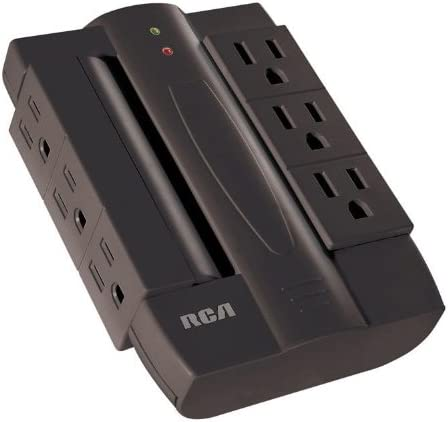 RCA PSWTS6BF Wall Tap Surge Protector with 6 Swivel Outlets – Black