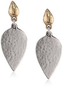 Lucky Brand Two-Tone Silver Stone Post Drop Earrings